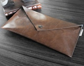 Envelope Clutch Handbag Purse Brown Chocolate Vegan Faux Leather