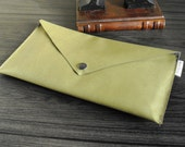 Envelope Clutch Handbag Purse Olive Green Vegan Faux Leather