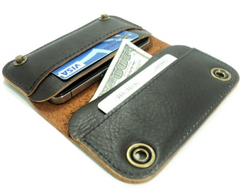 iPhone 4 leather case & wallet- brown leather