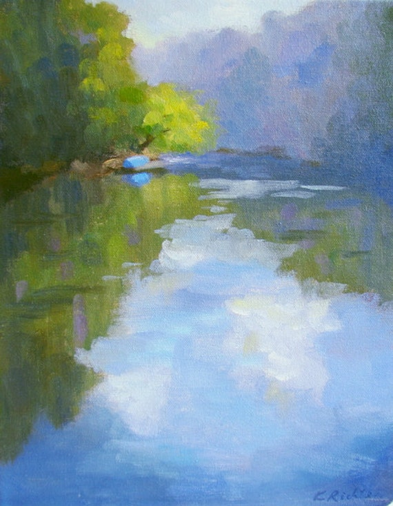 A Blue Boat by the River - original landscape painting by Keiko Richter 11x14