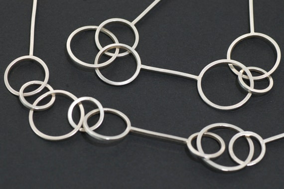 Sterling Silver Chain Necklace  - Silver Bubble Wand - Handmade silver chain English Hallmarks - contemporary silver chain circle jewellery