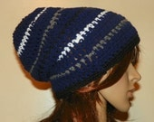 Dallas Cowboys Slouch Beanie Style Hat Navy with White Gray and Black Stripes Hand Crochet