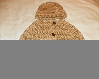 Baby Boy Sweater Set Beige Trendy Sweater and Beanie Hat Set Size Newborn-24M