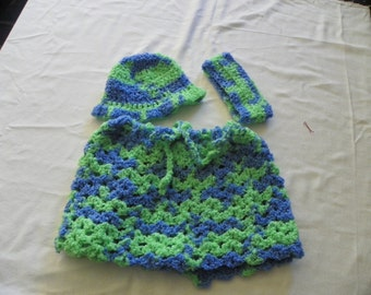 Sky and Grass Gorgeous Three Piece Poncho set for a little girl includes Ear warmer or use as a Headband and a Hat size 2-4T