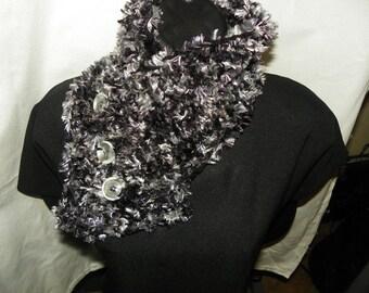 Smokey Gray Fur Scarf with Black  Popular Fashion Neck Warmer Hand Crochet