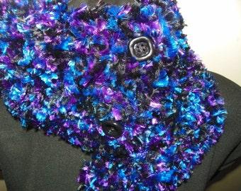 Fur Royal Blue on Black Scarf Cowl Neck Warmer Hand Crochet