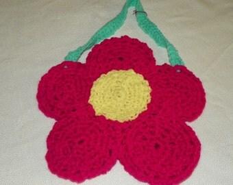 Red  Flower Purse   Little Girls Purse Hand Crochet