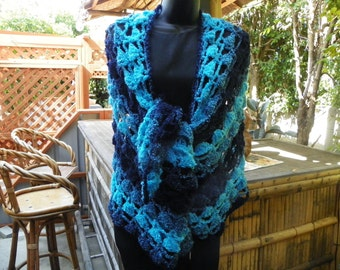 Beautiful Turquoise Elegant Shawl Wrap Stole and Midnite Blue Sky Blue One of a Kind Hand Crochet