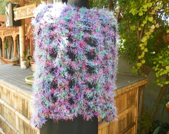 Funky  Fur Poncho Black, Hot Pink, Turquiose Blue Hand Crochet One of a Kind