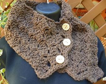 Nutmeg Brown Cowl Neck Warmer Hand Crochet One of a Kind