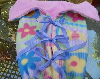 Baby Girl Bunting Ladybugs on Flowers Pink Beautiful DoubleFleece Blanket  Hand Made Size 0-9months
