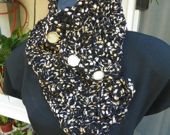 Elegant  Cowl  Black Gold and Tan Fancy Neck Warmer  Hand Crochet