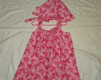 Butterflies on Pink Flowers Sun Dress and Hat Set Little Girls 6-8  White with Pink Butterflyies  Hand Made