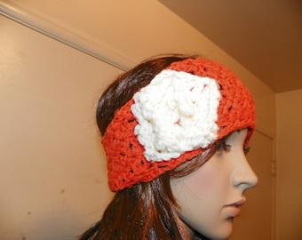 Tropical Orange and Ivory Flower Ear Warmer or Headband Hand Crochet