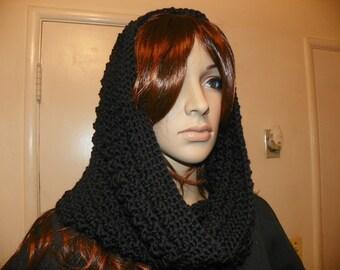 Black  on Black Classy Hood Cowl Neckwarmer All in One Hand Crochet