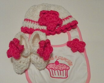 Baby Shower Gift Cute as a Cupcake  3 Piece Set Size 3-6m Hand Made
