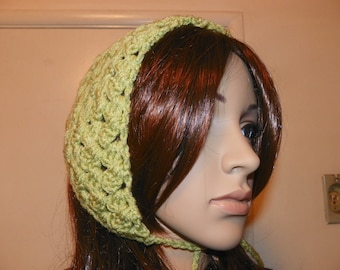 Moss Green Kerchief  Use as a Ear Warmer One of a Kind