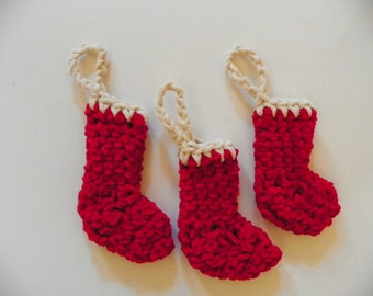 Beautiful Unique Red and Ivory Christmas Stocking 4Pcs Set Tree Ornaments made with Suede Soft Yarn Hand Crochet  Ready To Ship