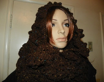 Coffee Brown with Fleck  Cowl Oversized Hood Hoodie and Neck Warmer all in one  Hand Crochet Very Popular Style