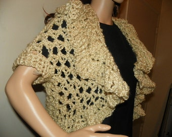 Cropped Sweater Stunning  Ivory Silky Shrug Bolero Sweater Perfect for a Gift