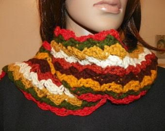 70's Style Scarf Neck Warmer  made with Harvest colors Hand Crochet.