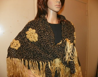 Gold on Black  Elegant Shawl Wrap Stole with a Classy    Ready to Ship