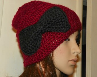 Ruby Red  Slouchy Hat with a Black Bow