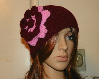 Beautiful Dark Red Hat with a Flower Hand Crochet
