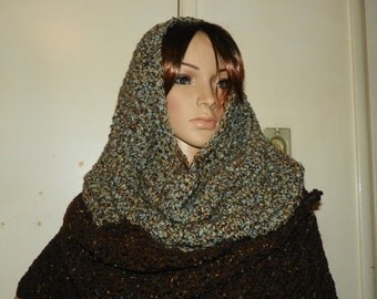 Beautiful Stunning  Cowl Neck Warmer Hood  Three in One Brown with Sage Green Color Hand Crochet