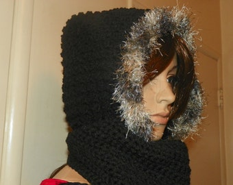 Beautiful Black  Scoodie Hooded Scarf with Fur   Hood and Scarf all in one with  Hand Crochet