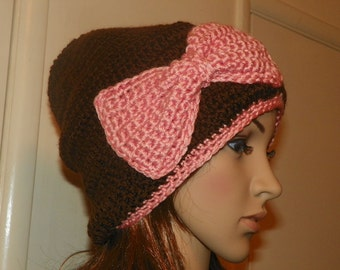 Brown and Peach Slouch Hat with a Peach Bow Hand Crochet