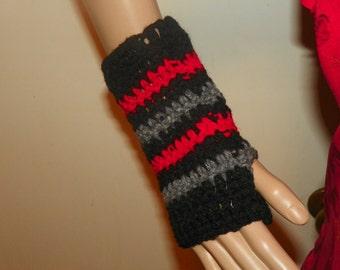 Fingerless Gloves in Red Black and Gray Hand Crochet