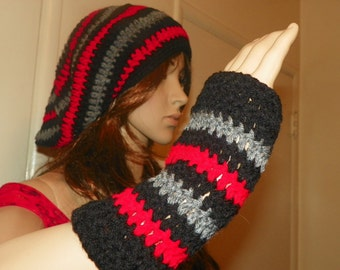 Hat and Glove Set Red Gray and Blacke Hand Crochet