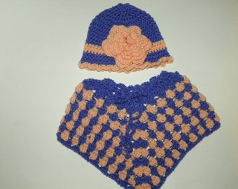 Baby Poncho Hat Set Purpel and Peach Size 0-4M Hand Crochet