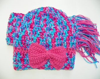 Childs Slouchy Hat with a Pink Bow Scarf Set