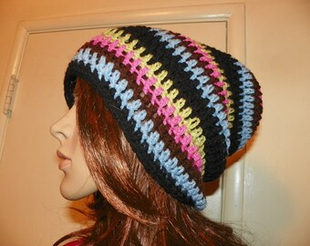 Beautiful Multi Color Slouch Clouch Slouchy Hat Popular Style Hand Crochet Black Pink Light Blue Sage Green Brown