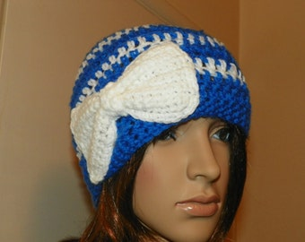 Blue and White Beanie Style Hat with a White Bow LA Dodgers Fans Girls Teen Woman H