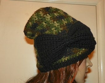 Slouch Hat Shades of Green  with a Black Bow Sloucy Beanie Hat Hand Crochet