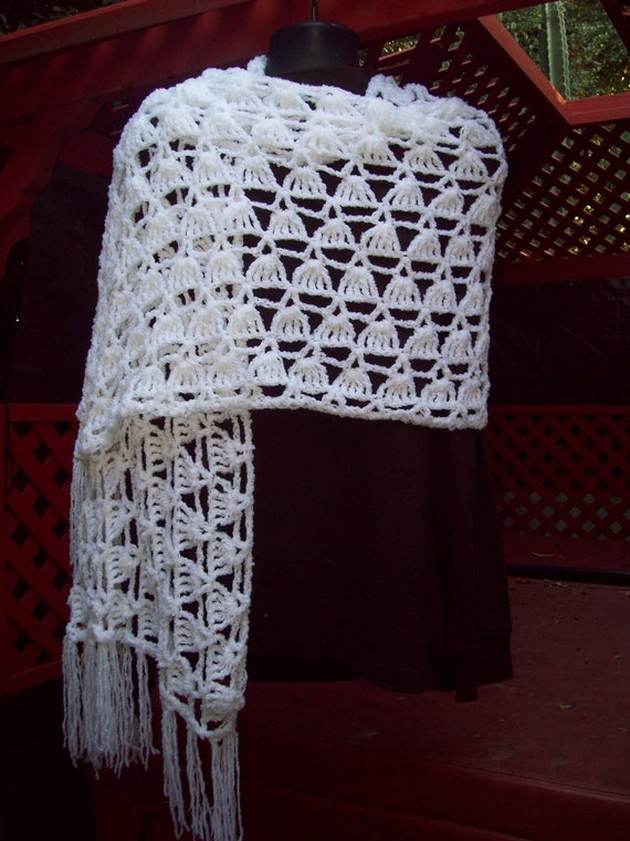 White  Shawl Wrap Perfect for a Wedding Shawl  Hand Crochet Rectangle Summer Wrap