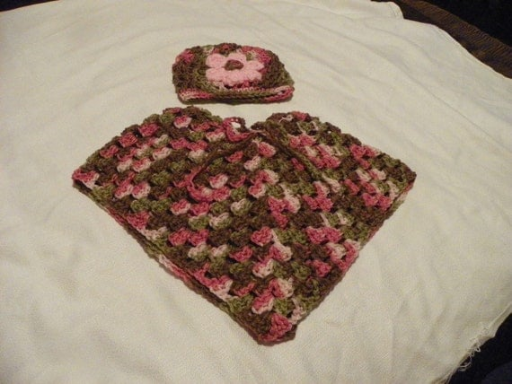 Pink and Brown Poncho Set for that Elegant  Little Lady Sizes Baby-12 Years