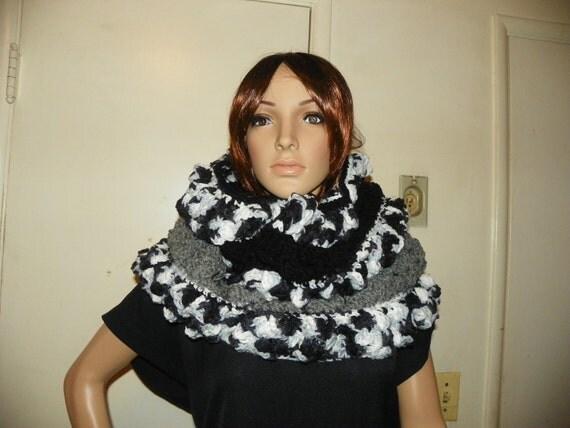Infinity  Scarf Oversized Cowl Black Smokey Gray and White Hoodie  Hood  Cowl  Neck Warmer Hand Crochet
