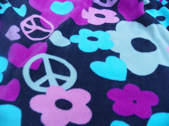 Flower Child Peace Blanket with a Backing Size 54inx60in Hand Tied
