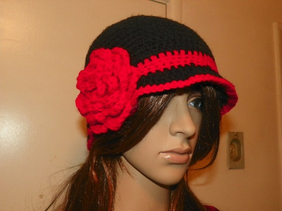 20's and 30's Style Black Hat with a Red Flower Hand Crochet