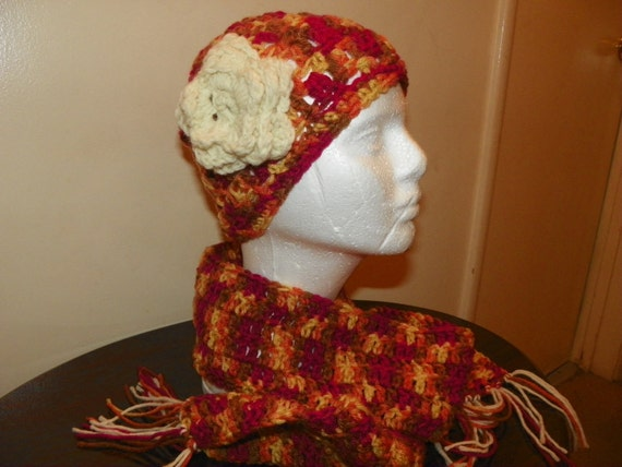 Childs Hat and Scarf Set Perfect for Fall Hat has a Ivory Flower Multi Colors Little Girls Size 4-8 Years Hand Crochet