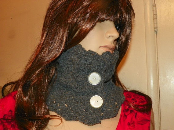 Classy Gray Scarf  Cowl Stunning Gray Cowl Neck Warmer Hand Crochet One of a KInd