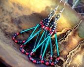 "Grey Blue Coral Teal Beaded Earrings: Tassle Peyote Stitch Long ""Diana"" gray melon green"