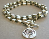 Hand-Knotted Black and Silver Wrap Bracelet with Tree Charm