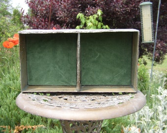 Jewelry tray made from weathered slate with Velvet removable inserts # DT 2