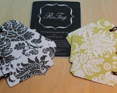 ReTag Gift Tags Set of 6 - Black & Lime Damask
