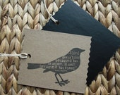 Chalkboard Tags in Kraft - Maya Angelou quote on bird - Set of 6 ReTags